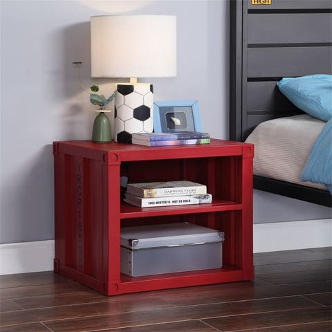 Red Metal Nightstand with 2 Shelves,USB,Industrial