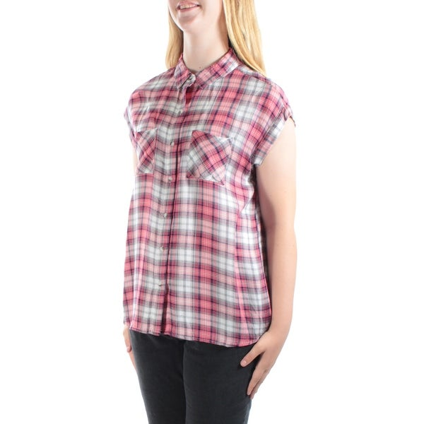 346e28f3db Shop POLLY   ESTHER Womens New 1589 Coral Green Plaid Hi-Lo Top Juniors M  B+B - Free Shipping On Orders Over  45 - Overstock.com - 21329767