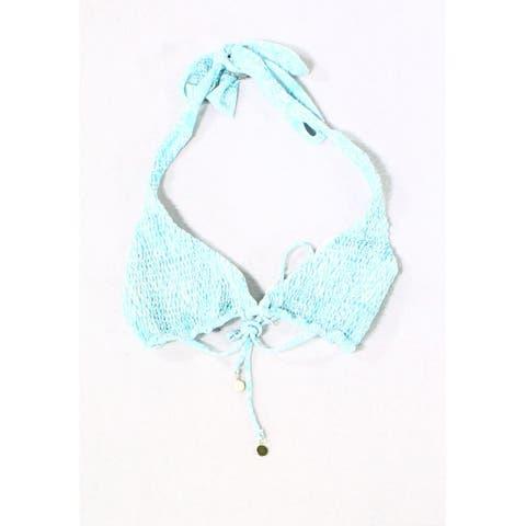 Tori Praver Blue White Womens Small S Smocked Bikini Top Swimwear