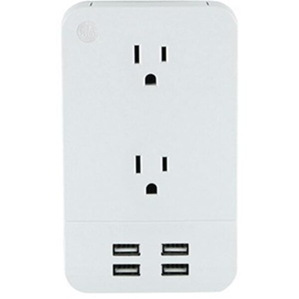 General Electric 2 Outlet Surge - Protector Wall Tap with 4 USB Ports
