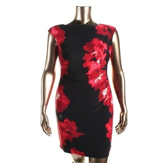 Lauren Ralph Lauren Womens Petites Matte Jersey Pleated Cocktail Dress