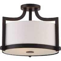 "Nuvo Lighting 60/5888 Meadow 3 Light 16"" Wide Semi-Flush Drum Ceiling Fixture"