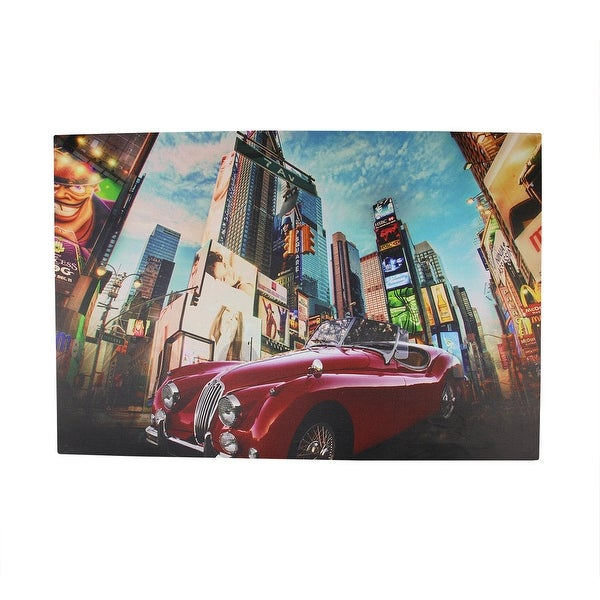"LED Lighted NYC Times Square 7th Avenue Classic MG Car Canvas Wall Art 15.75"" x 23.5"""