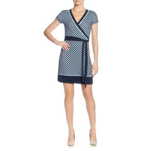 T Tahari Womens Cocktail Dress Printed Faux Wrap - Navy Multi - XL