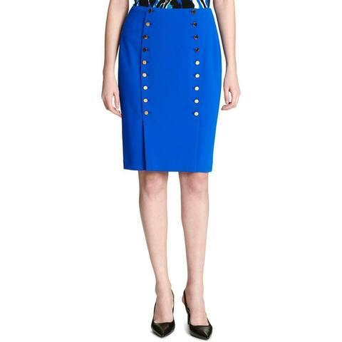 Calvin Klein Womens Skirt Blue Size 2P Petite Sailor Button Front Pencil