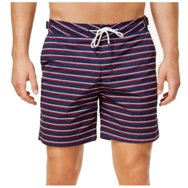 8953330c01 Shop Tommy Hilfiger Navy Red Mens Large Stripe Stretch Swim Trunks - Free  Shipping On Orders Over $45 - Overstock - 22312798