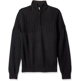 Calvin Klein NEW Men's Black Size XL Textured Knit Yoke 1/2 Zip Sweater
