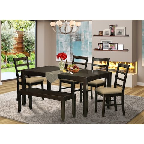 6-piece Dining Set - Rectangle Table with Leaf, 4 Chairs and Dining Bench in Cappuccino Finish