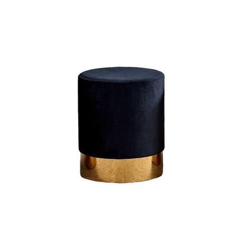 Best Master Furniture Velvet Fabric Round Stool with Gold Base