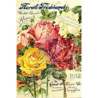"Floral Treasures - Prima Marketing Decor Transfer Rub-On 24""X34"""