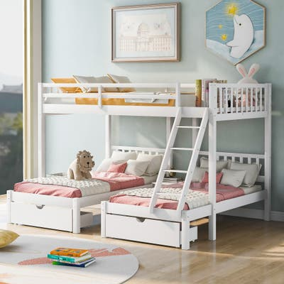 Nestfair Full Over Twin and Twin Bunk Bed with Drawers and Guardrails