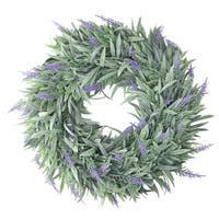 "14"" Artificial Dusty Purple Decorative Springtime Wispy Lavender Wreath - green"