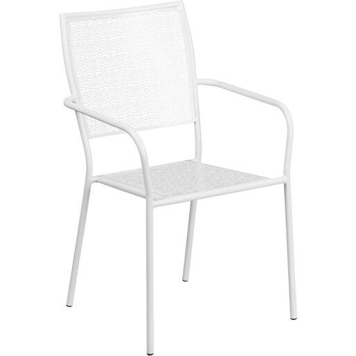 Westbury White Steel Arm Chair W Square Back For Patio Bar Restaurant