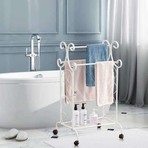 VECELO Metal Wire Simple Scrollwork Towel Rack