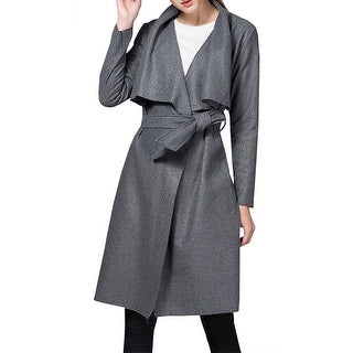 QZUnique Women's Casual Long Sleeve Lapel Outwear Trench Coat Cardigan