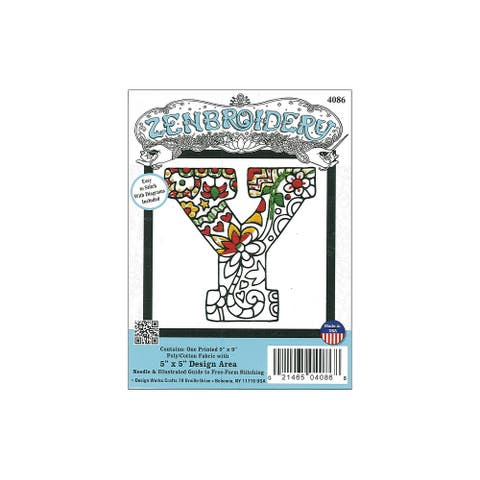 Design Works Zenbroidery Fabric 5x5 Letter Y