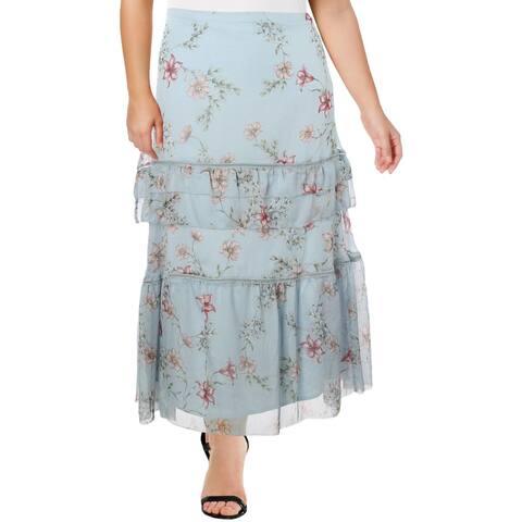 Ralph Lauren Womens Peasant, Boho Skirt Tiered Floral