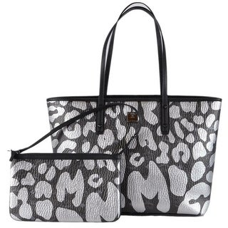 MCM Graffiti Logo Visetos ANYA LARGE Signature Zip Shopper Purse Tote -  grey black 68b733b0670ab