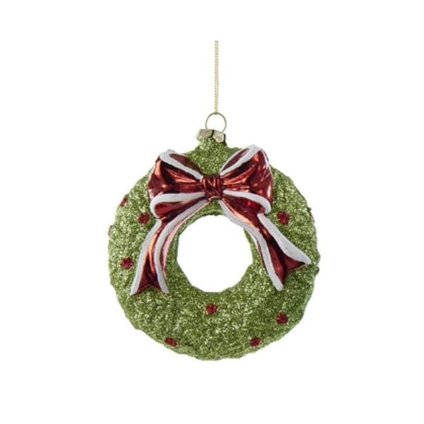 "4.25"" Green Wreath with Bow Glittered Decorative Christmas Ornament"