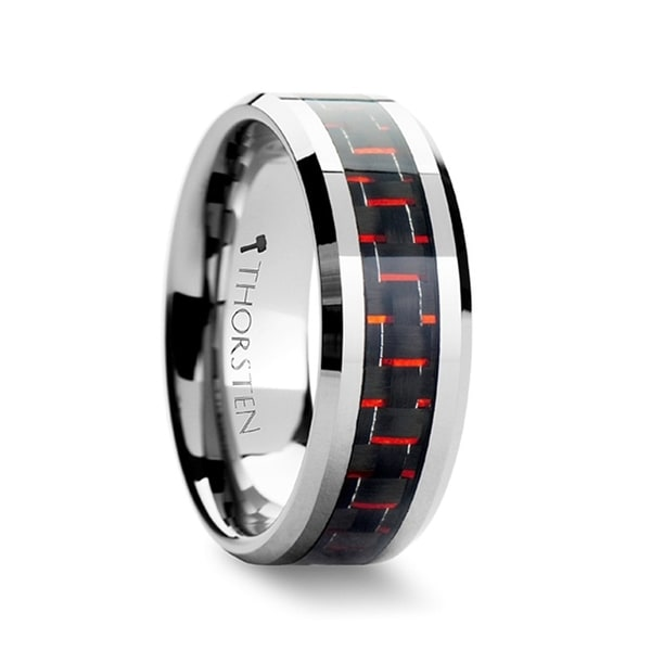 THORSTEN - AURELIUS Tungsten Band Inlaid with a Black  Red Carbon Fiber Ring