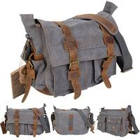 Costway Men's Vintage Canvas Leather School Military Shoulder Messenger Bag (Gray) - gray