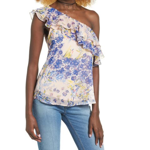 Leith Womens Small Floral Print One-Shoulder Blouse