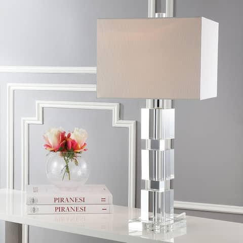 """SAFAVIEH Lighting Palace Crystal Stacked Cube 28-inch Table Lamp - 13""""x13""""x28"""""""