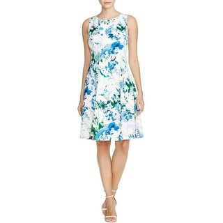 Calvin Klein Womens Casual Dress Floral Print Fit & Flare