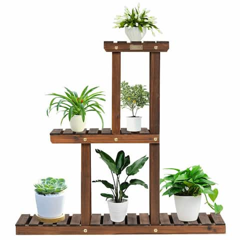 Gymax Wood Plant Stand 3-Tier Plant Pot Holder Vertical Carbonized - 32'' x 10'' x 30'' (L x W x H)