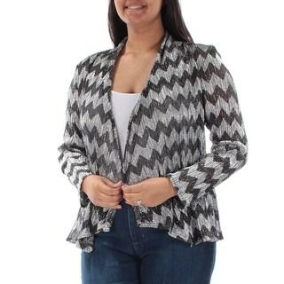 Womens Silver Chevron Long Sleeve Open Casual Top Size 12