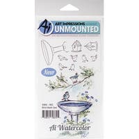"""Art Impressions Watercolor Cling Rubber Stamps 4""""X7""""-Bird Bath"""