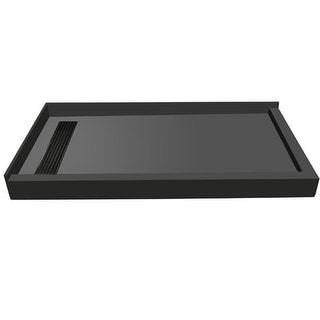 """Tile Redi RT3642LDR-PVC  Redi Trench 42"""" X 36"""" Corner Shower Pan with Double Curb and 2"""" Left-Side Drain - Tileable Drain"""