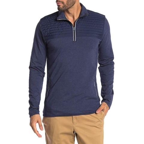 Vintage 1946 Mens Heathered Mix Media Zip Pullover Sweatshirt X-Large Blue XL