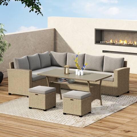 Corvus Leonore Outdoor 5-piece Rattan Wicker Sofa Set