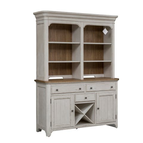 Farmhouse Reimagined Antique White Hutch and Buffet