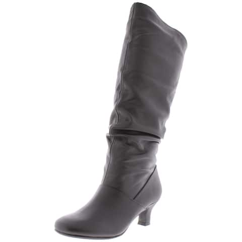 Array Womens Groove 14 Knee-High Boots Leather Round Toe - Black