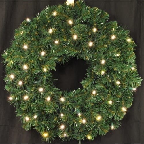 Christmas at Winterland WL-GWSQ-03-LWW-BAT 3 Foot Pre-Lit Battery Operated Warm White LED Sequoia Wreath Indoor / Outdoor