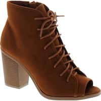 Soda Women's Hush Faux Suede Peep Toe Lace Up Stacked Heel Ankle Boot - Cognac