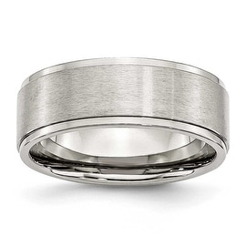 Chisel Ridged Edge Brushed and Polished Stainless Steel Ring (8.0 mm) - Sizes 6-13