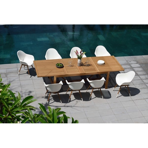 Life Style Garden 9 Piece Teak Finish Patio Dining Set - White Chairs. Opens flyout.