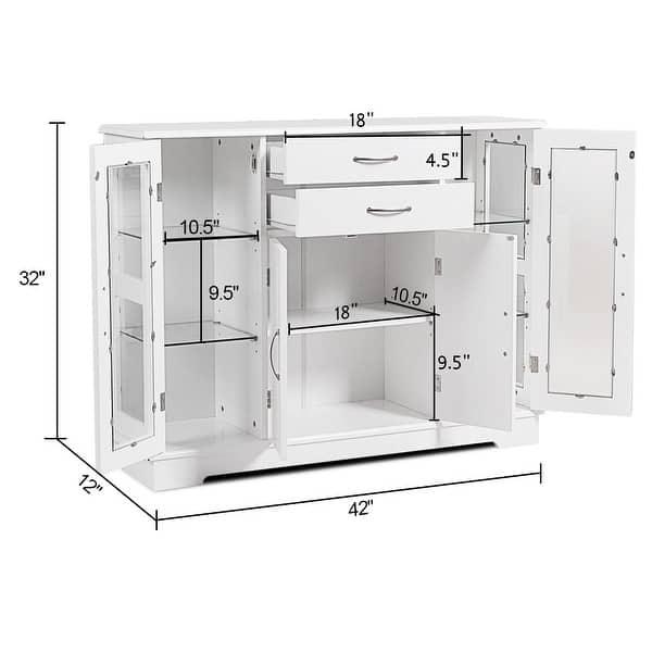Costway Buffet Storage Cabinet Console Cupboard W Gl