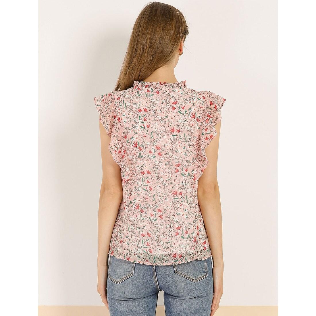 Handmade Top Ruffle Blouse V-neck Top 9-9 Blouse Pink Daisy Ruffle Top