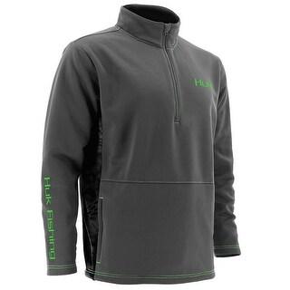 Huk Men's Fleece Medium 1/4 Zip Charcoal Grey Sweater