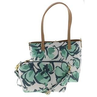 Emma Fox Womens Magnolia Tote Handbag Faux Leather Printed - Aqua - Medium