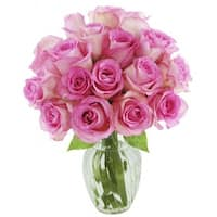 KaBloom Valentine s Day 18 Pink Roses with Vase