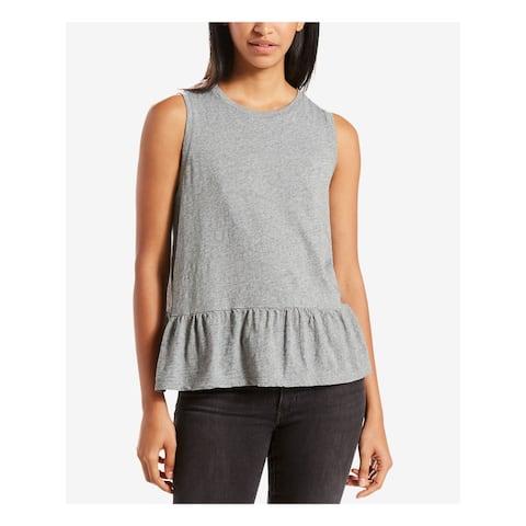LEVI'S Womens Gray Sleeveless Crew Neck Peplum Top Size L