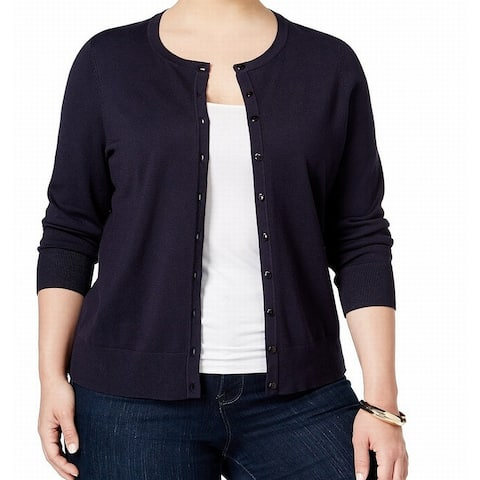 Charter Club Womens Sweater Navy Blue Size 1X Plus Button-Front Cardigan
