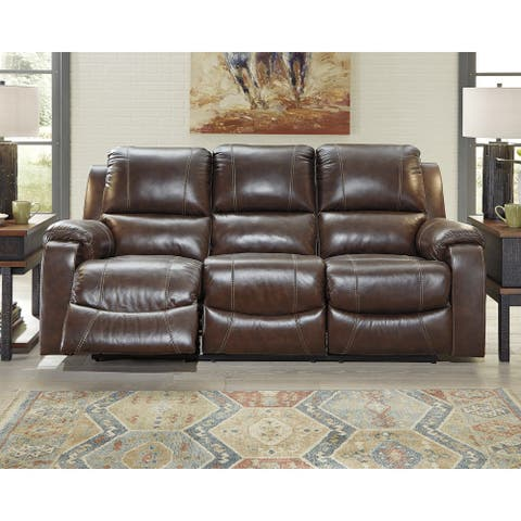 Rackingburg Contemporary Reclining Power Sofa Mahogany