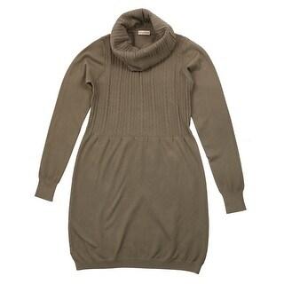 Cashmere Company COLLONE TRECCE TP Taupe Cashmere Blend Rolled Neck Dresses