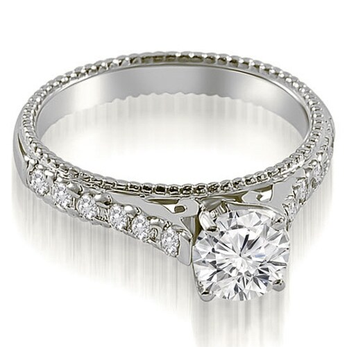 1.15 cttw. 14K White Gold Vintage Cathedral Round Cut Diamond Engagement Ring